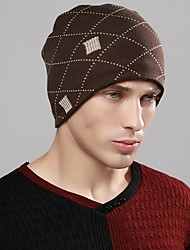 Men's Sweater Floppy Hat,Work Casual Striped Winter Spring Knitted Black Brown
