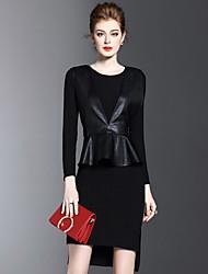 Dámské Vintage Denní Volné Šaty Jednobarevné,Krátké rukávy Kulatý Maxi Délka ke kolenům Bavlna Akryl Zima Středně vysoký pas Lehce