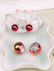 cheap -Women's Lovely Imitation Pearl Front Back Earrings - Sweet Red / Green Four Leaf Clover Earrings For Party / Daily