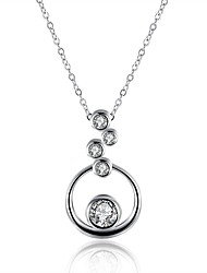 cheap -Women's Lovely Cubic Zirconia Zircon Silver Plated Pendant Necklace Chain Necklace  -  Fashion Sweet Circle Silver Necklace For Gift Daily