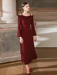 levne -Dámské Flare rukáv Pouzdro Šaty - Jednobarevné, Nabírané šaty Maxi Vysoký pas