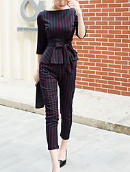cheap -Women's Going out Work Casual Bow Striped Boat Neck Pant Half Sleeve Fall Cotton