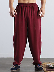 cheap -Men's Linen Wide Leg Pants - Solid Colored