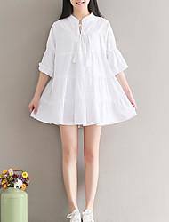 preiswerte -Damen A-Linie Kleid-Lässig/Alltäglich Einfach Solide Rundhalsausschnitt Mini Halbarm Polyester Winter Herbst Mittlere Taillenlinie