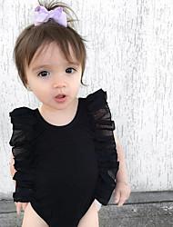 abordables -bébé Une-Pièce Fille Quotidien Couleur Pleine Coton Lin Fibre de bambou Acrylique Printemps Manches courtes simple Rétro Blanc Noir Rose