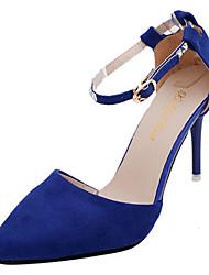 preiswerte -Damen Schuhe Kaschmir Herbst Komfort High Heels Stöckelabsatz Spitze Zehe Strass für Schwarz Purpur Fuchsia Rot Blau