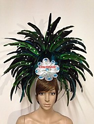 abordables -Carnaval Chapeau Bleu Rouge Vert Jaune Fuschia Plume Accessoires de cosplay Carnaval Mascarade