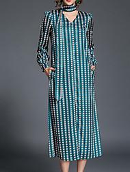 baratos -Mulheres Vintage Bainha Vestido - Estampado, Geométrica Decote V Médio / Outono