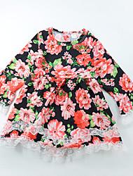preiswerte -Mädchen Kleid Alltag Ausgehen Blumen Polyester Ganzjährig Langarm Niedlich Boho Rote