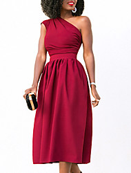 cheap -Women's Street chic Sheath Swing Dress - Solid Colored, Ruched High Waist One Shoulder