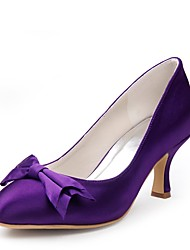cheap -Women's Shoes Silk Spring Summer Basic Pump Wedding Shoes Low Heel Peep Toe Bowknot for Wedding Party & Evening Purple