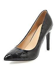 preiswerte -Damen Schuhe Kunstleder Frühling Herbst Komfort High Heels Stöckelabsatz Spitze Zehe für Kleid Party & Festivität Weiß Schwarz Beige Rot