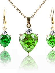 cheap -Women's Gold Plated Jewelry Set 1 Necklace / Earrings - Classic / Fashion Green Jewelry Set / Pendant Necklace For Gift / Daily