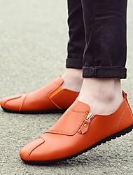 靴 PUレザー 春 秋 コンフォートシューズ ローファー&スリップアドオン のために カジュアル ホワイト ブラック オレンジ
