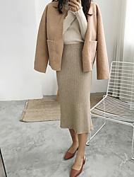 cheap -Women's Daily Midi Skirts,Casual Bodycon Linen Print Winter