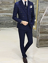 cheap -Men's Party/Cocktail Going out Street chic Spring Fall Suits,Plaid Peaked Lapel Long Sleeve Regular Polyester