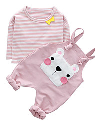 cheap -Baby Girls' Striped Print Short Sleeve Clothing Set