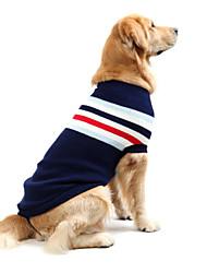baratos -Cachorro Súeters Roupas para Cães Listrado Azul Escuro / Vermelho Algodão Ocasiões Especiais Para animais de estimação Homens / Mulheres Casual