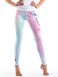preiswerte -Damen Stilvoll Mittel Polyester Druck Genähte Spitzen Bedruckt Legging,Weiß