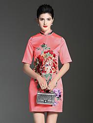 abordables -Trapèze Robe Soirée Vacances Chinoiserie Sophistiqué,Couleur Pleine Fleur Mao Au dessus du genou Manches courtes Polyester Printemps Eté