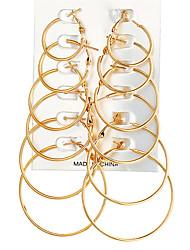 preiswerte -Damen überdimensional 12st Kreolen - überdimensional / Rock Gold / Silber Kreisform / Geometrische Form Ohrringe Für Party / Karnival