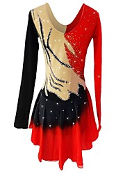 cheap -Figure Skating Dress Women's / Girls' Ice Skating Dress Red Spandex Stretchy Skating Wear Sequin Long Sleeve Figure Skating