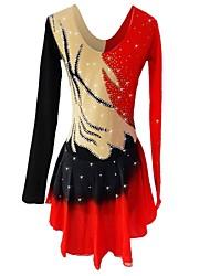 abordables -Vestido de patinaje artístico Mujer / Chica Patinaje Sobre Hielo Vestidos Rojo Licra Elástico Ropa de Patinaje Lentejuela Manga Larga