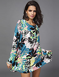 cheap -Women's Casual Tunic Dress - Floral