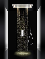 cheap -Contemporary Shower System Rain Shower Handshower Included LED with  Ceramic Valve Three Handles Three Holes for  Chrome , Shower Faucet