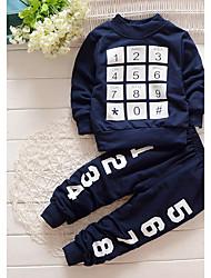 Недорогие -Мальчики Набор одежды Спорт Хлопок С принтом Весна Длинные рукава На каждый день Темно синий