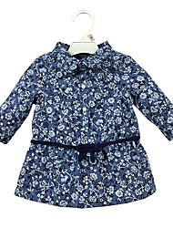 cheap -Baby Girls' Daily Floral Shirt, Cotton Casual Long Sleeves Blue