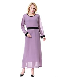 cheap -Women's Work Vintage Loose Chiffon Jalabiyah Dress,Solid Round Neck Midi Long Sleeve Polyester Spring Summer Mid Rise Inelastic Sheer
