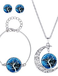 cheap -Women's Jewelry Set - Classic, Fashion Include Stud Earrings / Necklace Dark Blue / Brown For Daily