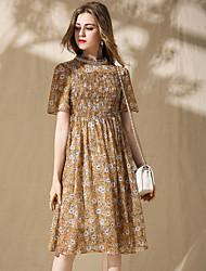 baratos -Mulheres Sofisticado Boho Chifon Vestido - Com Miçangas, Floral Colarinho Chinês Médio