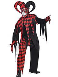 Недорогие -Клоун Косплэй Kостюмы Муж. Хэллоуин Фестиваль / праздник Костюмы на Хэллоуин Черный В клетку