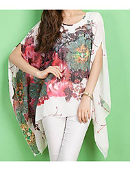 cheap -Women's Street chic Batwing Sleeve Oversized Blouse-Floral,Print