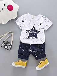 cheap -Boys' Daily School Geometric Cartoon Clothing Set, Cotton All Seasons Short Sleeves Cute Casual Active Red Navy Blue Gray