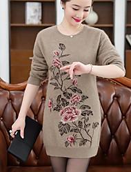 economico -Per donna Manica lunga Cashmere Lungo Pullover - Con stampe