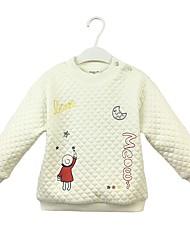 abordables -Pull à capuche & Sweatshirt Fille Couleur Pleine Bande dessinée Coton Printemps Automne Manches longues simple Mignon Blanc