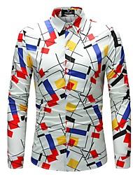 Недорогие -Муж. Большие размеры - Рубашка Тонкие Геометрический принт / Длинный рукав