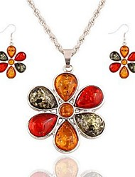 cheap -Women's Crystal Jewelry Set - Crystal Flower Classic, Fashion Include Drop Earrings / Pendant Necklace Silver For Daily