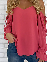 cheap -Women's Street chic Loose Blouse-Solid Colored V Neck