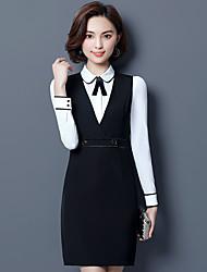 cheap -Women's Work Shirt Print Dress Crew Neck