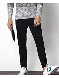 baratos -Homens Esporte & lazer Cintura Média Micro-Elástica Justas/Skinny Calças, POLY 55% Algodão/45% Raio Primavera/Outono Sólido