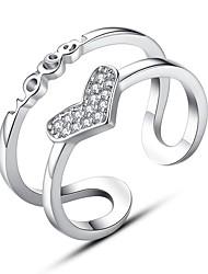 preiswerte -Damen Kubikzirkonia Aleación Herz Stulpring - Modisch Silber Ring Für Alltag / Formal