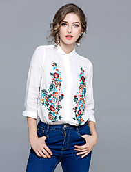 cheap -MAXLINDY Women's Vintage Puff Sleeve Shirt - Floral Embroidered Shirt Collar