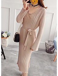 cheap -Women's Daily Casual Shirt Dress,Solid V Neck Midi Long Sleeve Polyester Fall Mid Rise Micro-elastic Thin
