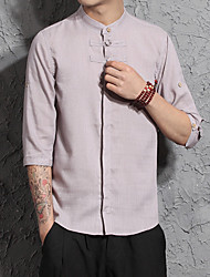 cheap -Men's Daily Vintage Chinoiserie Summer Shirt,Solid Crew Neck Short Sleeve Linen