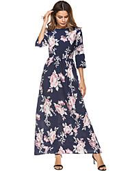 abordables -Mujer Gasa Corte Swing Vestido Noche Playa Boho,Estampado Escote Redondo Maxi Mangas 3/4 Poliéster Primavera Verano Alta cintura
