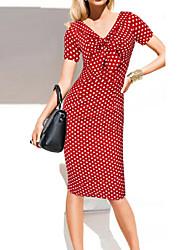 preiswerte -Damen Grundlegend Bodycon Kleid Punkt Übers Knie V-Ausschnitt Hohe Taillenlinie Rot